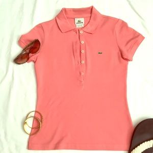 Slim fit Lacoste polo size 36 in coral, like new!
